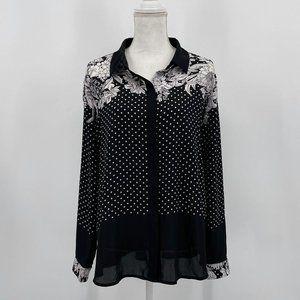 Liz Claiborne Black Floral Dots Button Down Blouse